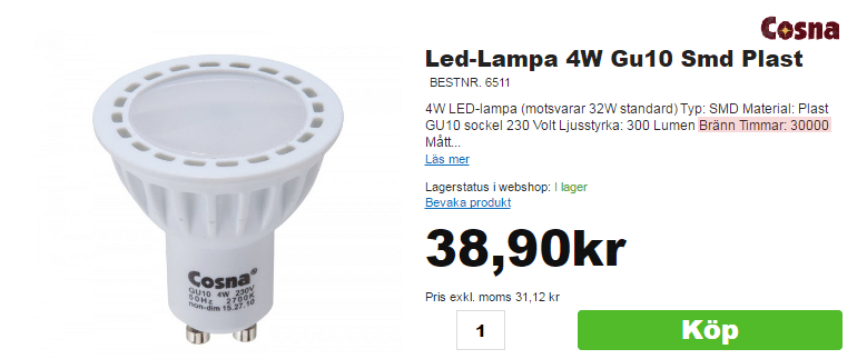 Lysdiodsbluffen - vaddå 30000 timmar - Harald Nyborgs billiga lampa