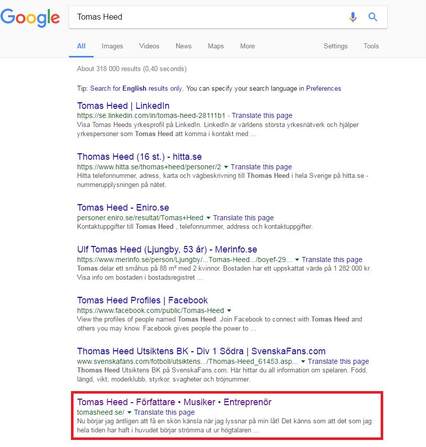 sökmotoroptimera sig själv - resultat